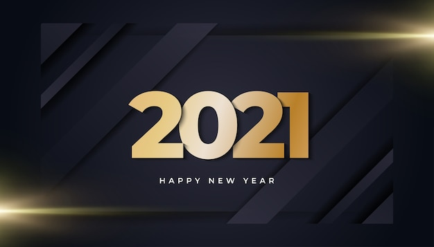 Happy new year  banner with golden numbers and glowing light on dark background