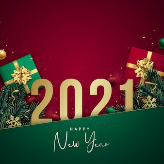 Happy new year banner with golden numbers