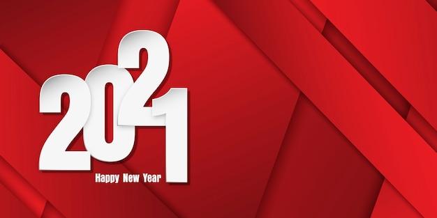 Felice anno nuovo banner con numeri di stile taglio carta su sfondo geometrico