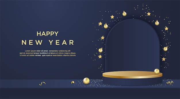 Happy new year banner with product display cylindrical shape on blue background