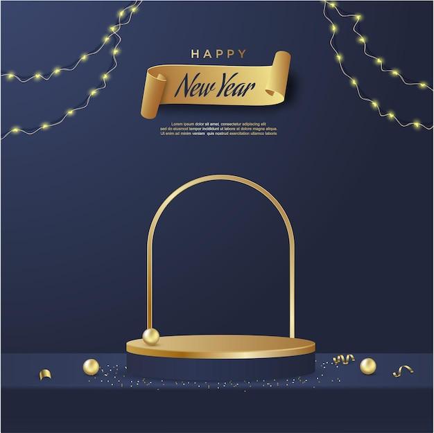 파란색 배경에 제품 디스플레이 원통형 모양이 있는 새해 복 많이 받으세요
