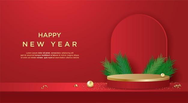 빨간색 배경에 제품 디스플레이 원통형 모양이 있는 새해 복 많이 받으세요 배너