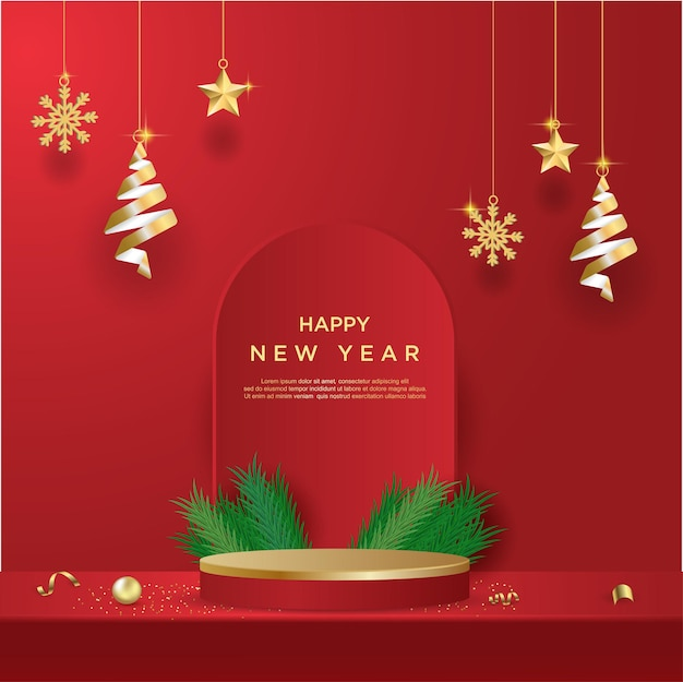 Happy new year banner with product display cylindrical shape on red background