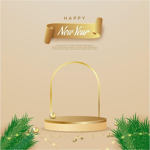 제품 디스플레이 원통형 모양으로 새해 복 많이 받으세요 배너
