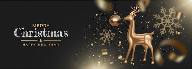 リアルな黄金の鹿と紙吹雪、見掛け倒し、スノーフレークと新年あけましておめでとうございますバナー
