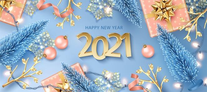 С новым годом баннер с реалистичными золотыми числами