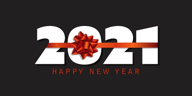 Happy new year banner with red ribbon design
