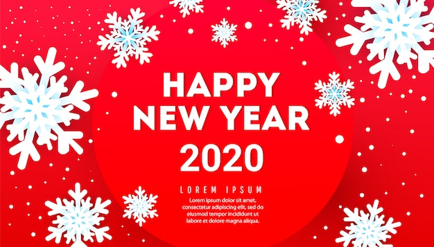 Happy new year banner with snowflakes and text on a red background
