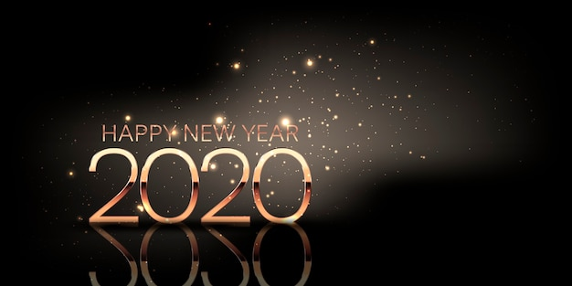 Happy new year banner with sparkle design and metallic gold numbers