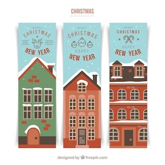 Banner di nuovo anno felice con facciate di casa