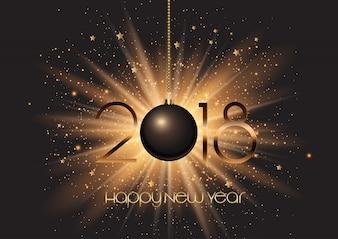 Happy New Year bauble on starburst background