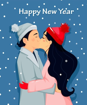 Happy new year, beautiful couple kissing
