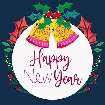 Happy new year bells with holly berry border decoration badge