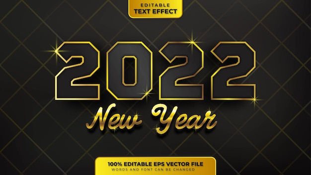 Happy new year black gold 3d editable text effect
