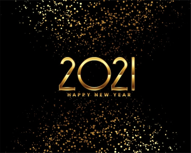 Happy new year black and gold greeting card