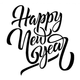 Happy new year black handwriting lettering isolated