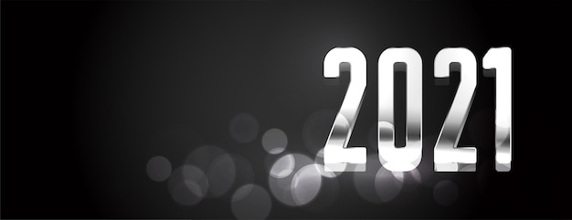 Happy new year  black and silver shiny banner