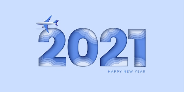 Happy new year blue design. paper cut numeral with plane and clouds