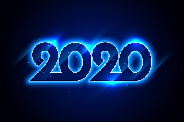 Happy new year blue neon 2020 greeting card design