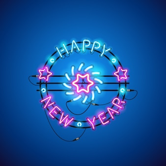 Happy new year blue pink neon sign