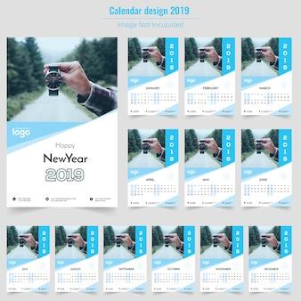 Happy new year blue wall calendar 2019