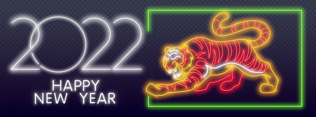 Happy new year of the blue water tiger. orange neon style on black background. light icon. neon tiger 2022. wild animal, zoo, nature design.