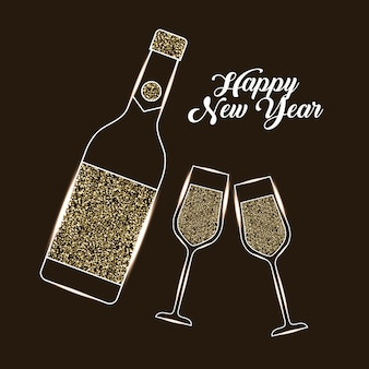 Happy new year bottle champagne and glass celebration