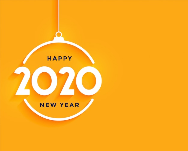 Happy new year bright yellow minimal background