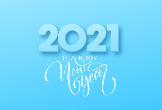 Happy new year brush lettering on the blue background.  illustration