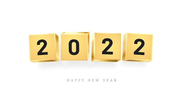 Happy new year calendar design element golden cubes with numbers isolated greeting cards decoration