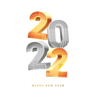 Happy new year calendar design element in golden and silver colors isolated greeting cards