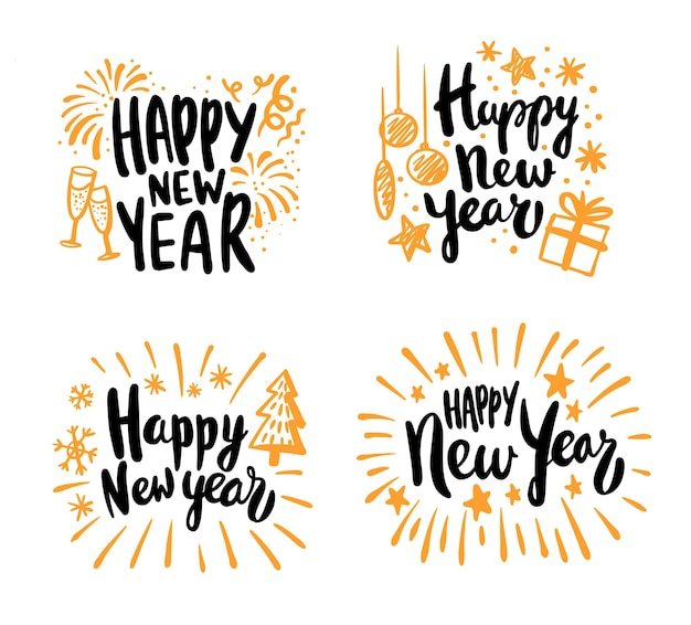 Happy new year calligraphic lettering text design cards set.