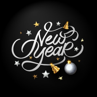Happy new year calligraphy on black background with ornaments