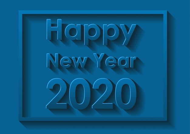 Happy new year card design in blue