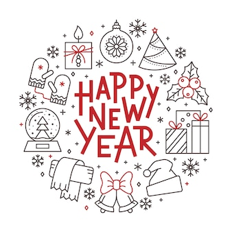 Happy new year card, winter holiday red, black line icon lettering banner.