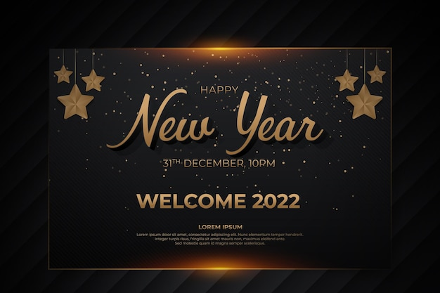 Happy new year card with black gold backround style