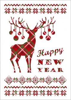市松模様のトナカイとの幸せな新年カード
