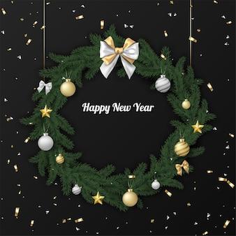 크리스마스 화환과 색종이가 있는 새해 복 많이 받으세요 프리미엄 벡터