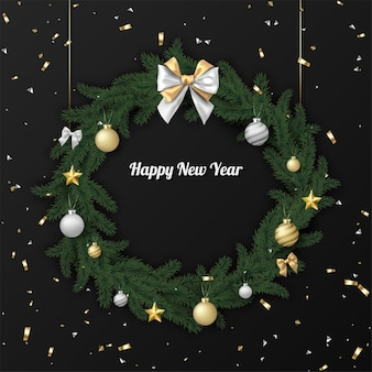Happy new year card with christmas wreath and confetti