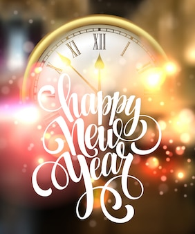 Happy new year card with clock.