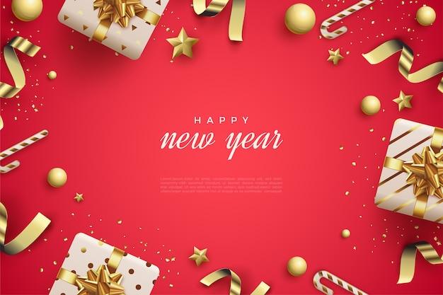 装飾が施された新年あけましておめでとうございますカード