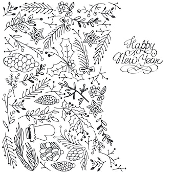 Happy new year card with floral decorations