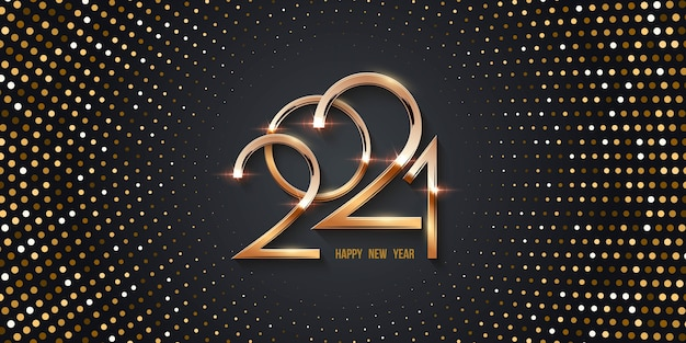 Happy new year  card with gold halftone background, shining numbers and dots radial pattern.