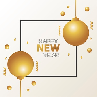 Happy new year card with golden balls and confetti poster  illustration