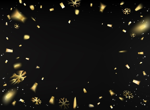 Happy new year card with golden confetti over black background.