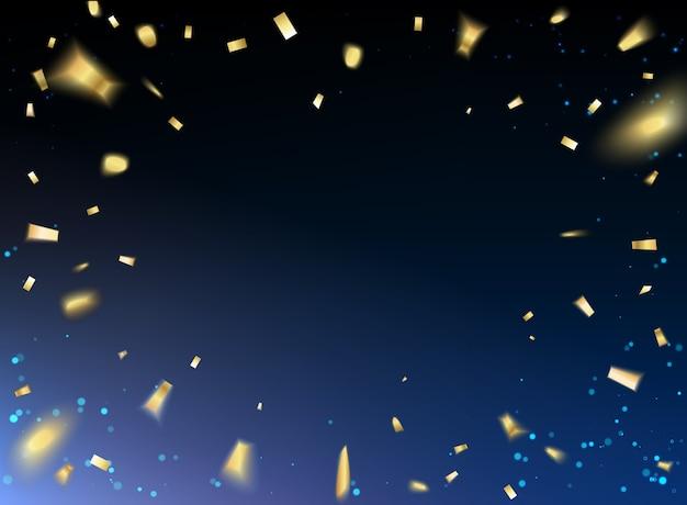 Carta di felice anno nuovo con coriandoli dorati su sfondo nero.