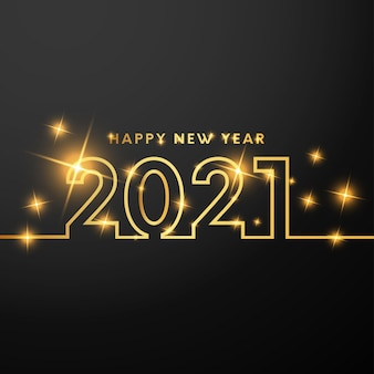 Happy new year card with golden numbers