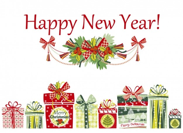 Happy new year card with presents
