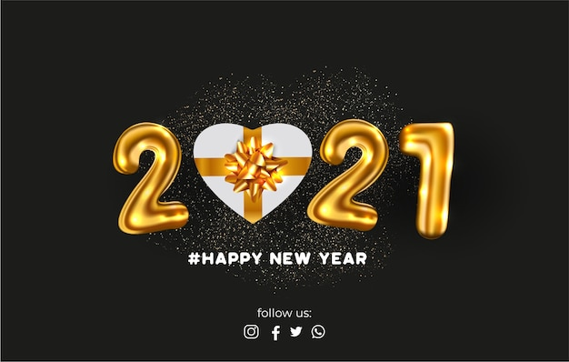 Happy new year card with realistic 2021 balloons and gift