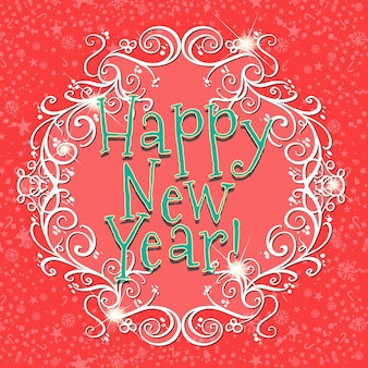Happy new year card with red background